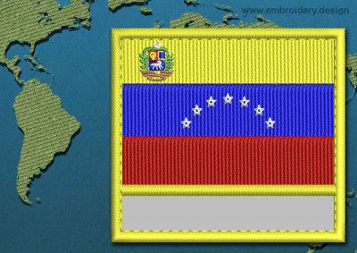 This Flag of Venezuela (With Crest) Customizable Text  with a Colour Coded border design was digitized and embroidered by www.embroidery.design.