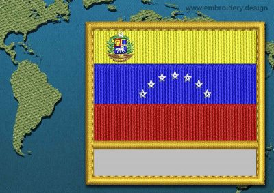 This Flag of Venezuela (With Crest) Customizable Text  with a Gold border design was digitized and embroidered by www.embroidery.design.