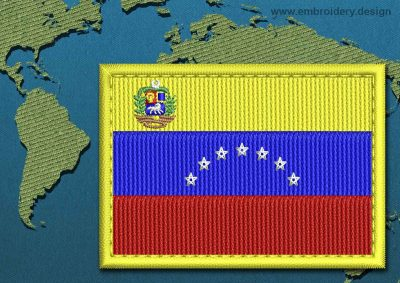 This Flag of Venezuela (With Crest) Rectangle with a Colour Coded border design was digitized and embroidered by www.embroidery.design.