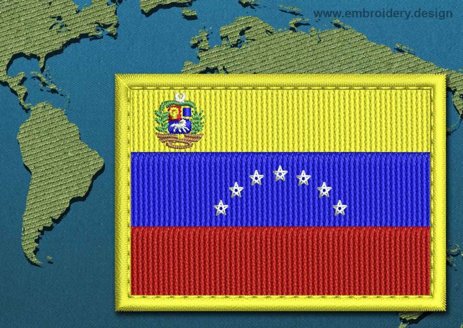 Venezuela (With Crest) Rectangle Flag with a Colour Coded Border
