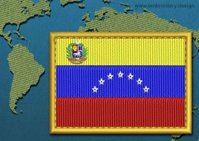 This Flag of Venezuela (With Crest) Rectangle with a Gold border design was digitized and embroidered by www.embroidery.design.