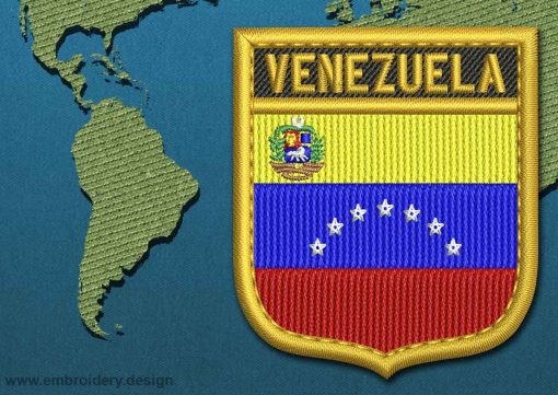 This Flag of Venezuela (With Crest) Shield with a Gold border design was digitized and embroidered by www.embroidery.design.