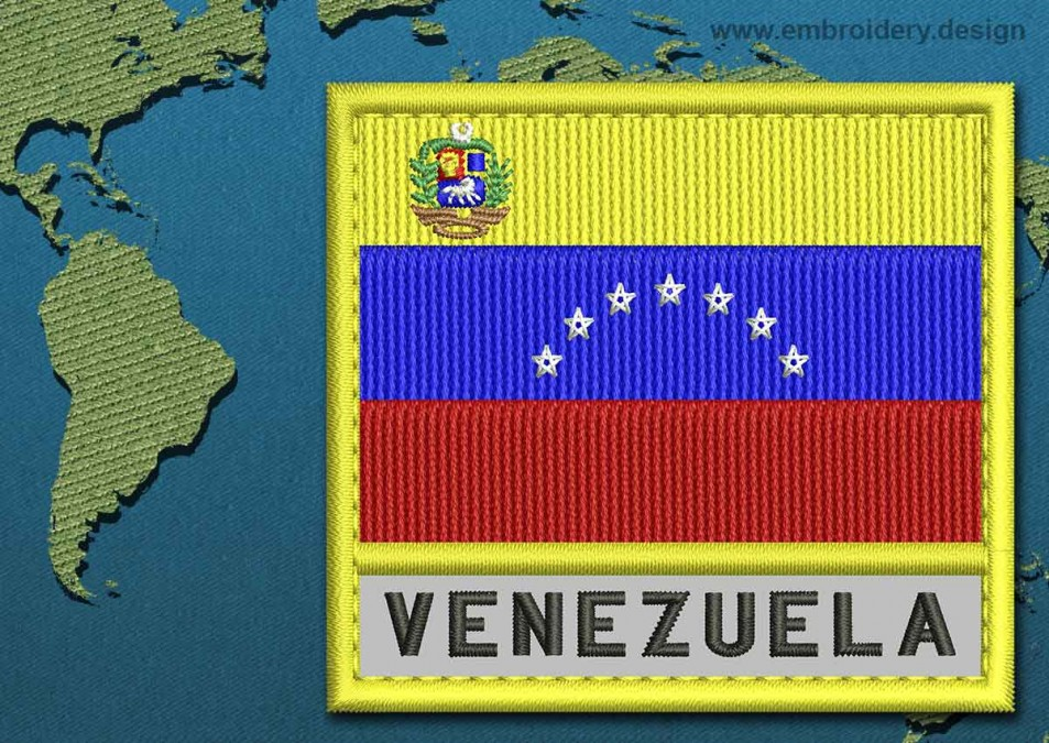 Venezuela (With Crest) Text Flag with a Colour Coded Border