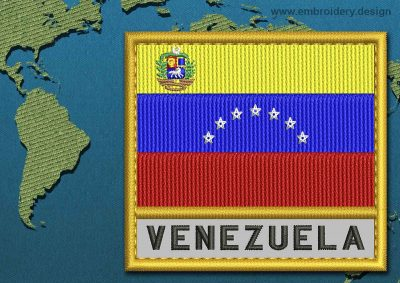 This Flag of Venezuela (With Crest) Text with a Gold border design was digitized and embroidered by www.embroidery.design.