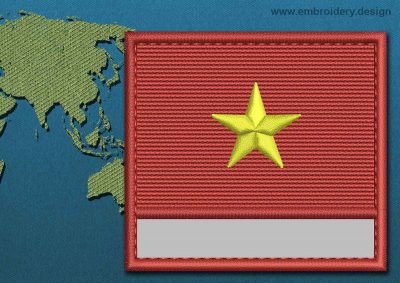 This Flag of Vietnam Customizable Text  with a Colour Coded border design was digitized and embroidered by www.embroidery.design.