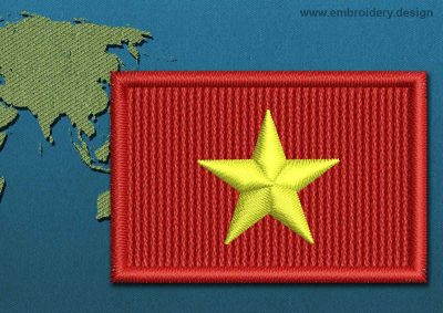 This Flag of Vietnam Mini with a Colour Coded border design was digitized and embroidered by www.embroidery.design.