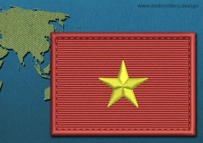 This Flag of Vietnam Rectangle with a Colour Coded border design was digitized and embroidered by www.embroidery.design.