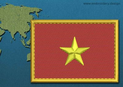 This Flag of Vietnam Rectangle with a Gold border design was digitized and embroidered by www.embroidery.design.