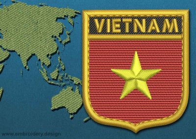 This Flag of Vietnam Shield with a Gold border design was digitized and embroidered by www.embroidery.design.
