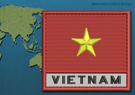 This Flag of Vietnam Text with a Colour Coded border design was digitized and embroidered by www.embroidery.design.