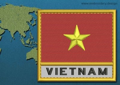 This Flag of Vietnam Text with a Gold border design was digitized and embroidered by www.embroidery.design.