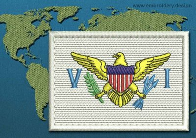 This Flag of Virgin Islands (US) Rectangle with a Colour Coded border design was digitized and embroidered by www.embroidery.design.