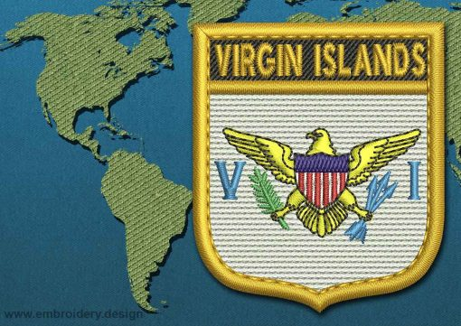 This Flag of Virgin Islands (US) Shield with a Gold border design was digitized and embroidered by www.embroidery.design.