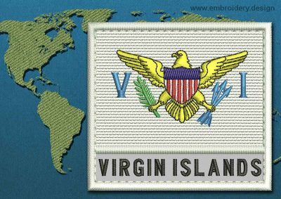 This Flag of Virgin Islands (US) Text with a Colour Coded border design was digitized and embroidered by www.embroidery.design.