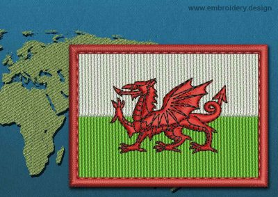 This Flag of Wales Rectangle with a Colour Coded border design was digitized and embroidered by www.embroidery.design.