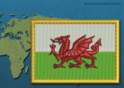 This Flag of Wales Rectangle with a Gold border design was digitized and embroidered by www.embroidery.design.