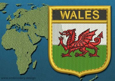 This Flag of Wales Shield with a Gold border design was digitized and embroidered by www.embroidery.design.