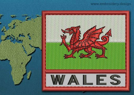 This Flag of Wales Text with a Colour Coded border design was digitized and embroidered by www.embroidery.design.