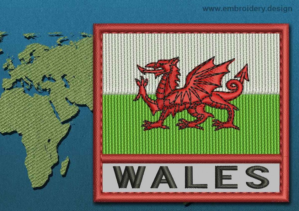 Wales Text Flag with a Colour Coded Border