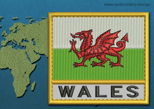 This Flag of Wales Text with a Gold border design was digitized and embroidered by www.embroidery.design.
