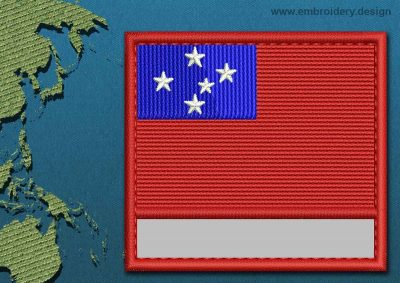 This Flag of Western Samoa Customizable Text  with a Colour Coded border design was digitized and embroidered by www.embroidery.design.