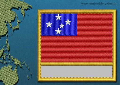 This Flag of Western Samoa Customizable Text  with a Gold border design was digitized and embroidered by www.embroidery.design.
