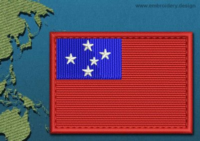 This Flag of Western Samoa Rectangle with a Colour Coded border design was digitized and embroidered by www.embroidery.design.