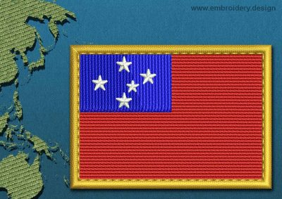 This Flag of Western Samoa Rectangle with a Gold border design was digitized and embroidered by www.embroidery.design.