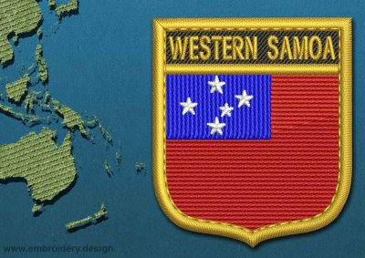 This Flag of Western Samoa Shield with a Gold border design was digitized and embroidered by www.embroidery.design.