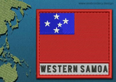 This Flag of Western Samoa Text with a Colour Coded border design was digitized and embroidered by www.embroidery.design.
