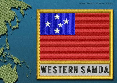 This Flag of Western Samoa Text with a Gold border design was digitized and embroidered by www.embroidery.design.