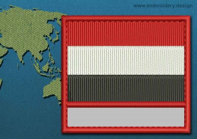 This Flag of Yemen Customizable Text  with a Colour Coded border design was digitized and embroidered by www.embroidery.design.