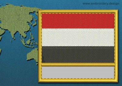 This Flag of Yemen Customizable Text  with a Gold border design was digitized and embroidered by www.embroidery.design.
