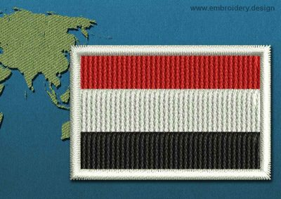 This Flag of Yemen Mini with a Colour Coded border design was digitized and embroidered by www.embroidery.design.