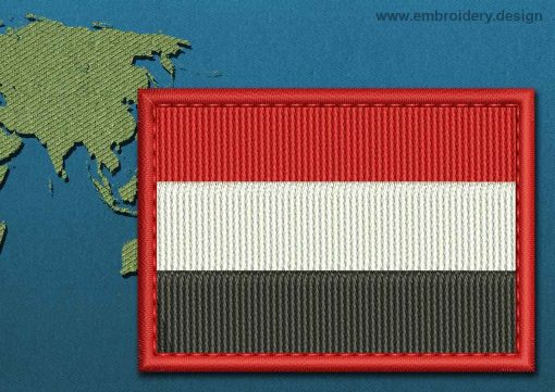 This Flag of Yemen Rectangle with a Colour Coded border design was digitized and embroidered by www.embroidery.design.