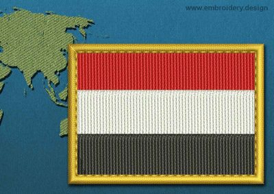 This Flag of Yemen Rectangle with a Gold border design was digitized and embroidered by www.embroidery.design.