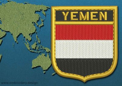 This Flag of Yemen Shield with a Gold border design was digitized and embroidered by www.embroidery.design.