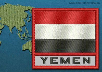 This Flag of Yemen Text with a Colour Coded border design was digitized and embroidered by www.embroidery.design.