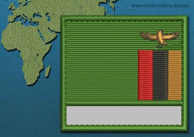 This Flag of Zambia Customizable Text  with a Colour Coded border design was digitized and embroidered by www.embroidery.design.