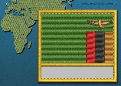 This Flag of Zambia Customizable Text  with a Gold border design was digitized and embroidered by www.embroidery.design.