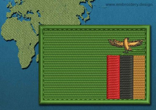This Flag of Zambia Rectangle with a Colour Coded border design was digitized and embroidered by www.embroidery.design.
