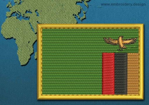 This Flag of Zambia Rectangle with a Gold border design was digitized and embroidered by www.embroidery.design.