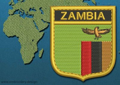 This Flag of Zambia Shield with a Gold border design was digitized and embroidered by www.embroidery.design.
