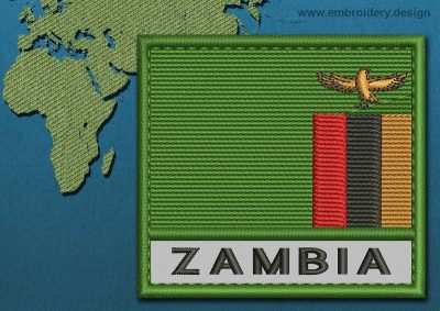 This Flag of Zambia Text with a Colour Coded border design was digitized and embroidered by www.embroidery.design.