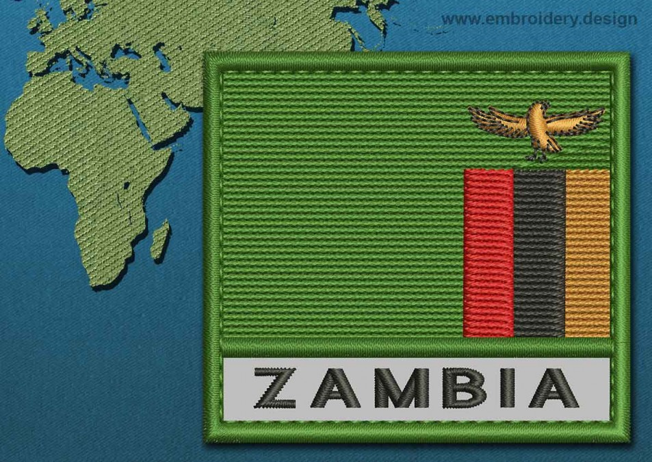 Zambia Text Flag with a Colour Coded Border