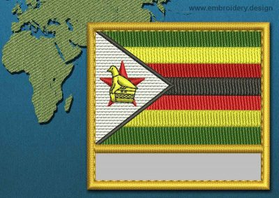 This Flag of Zimbabwe Customizable Text  with a Gold border design was digitized and embroidered by www.embroidery.design.