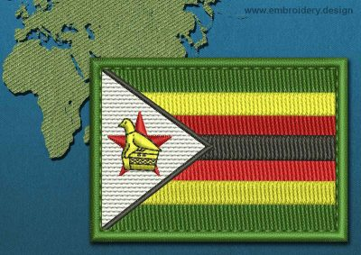 This Flag of Zimbabwe Rectangle with a Colour Coded border design was digitized and embroidered by www.embroidery.design.