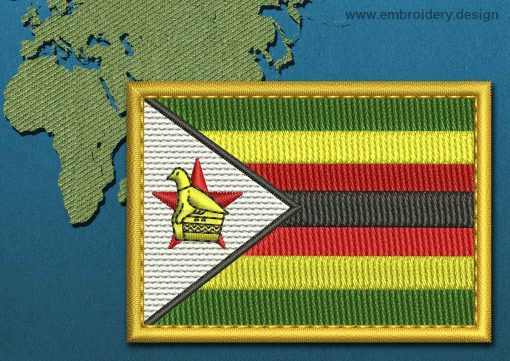 This Flag of Zimbabwe Rectangle with a Gold border design was digitized and embroidered by www.embroidery.design.