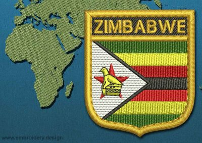 This Flag of Zimbabwe Shield with a Gold border design was digitized and embroidered by www.embroidery.design.
