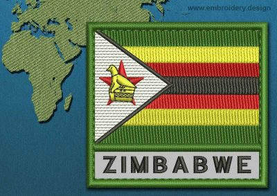 This Flag of Zimbabwe Text with a Colour Coded border design was digitized and embroidered by www.embroidery.design.